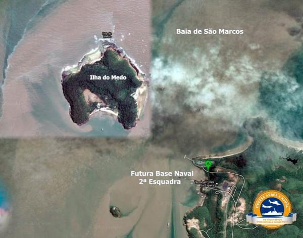 Provável localização da futura Base Naval do Nordeste que abrigará a 2ª Esquadra