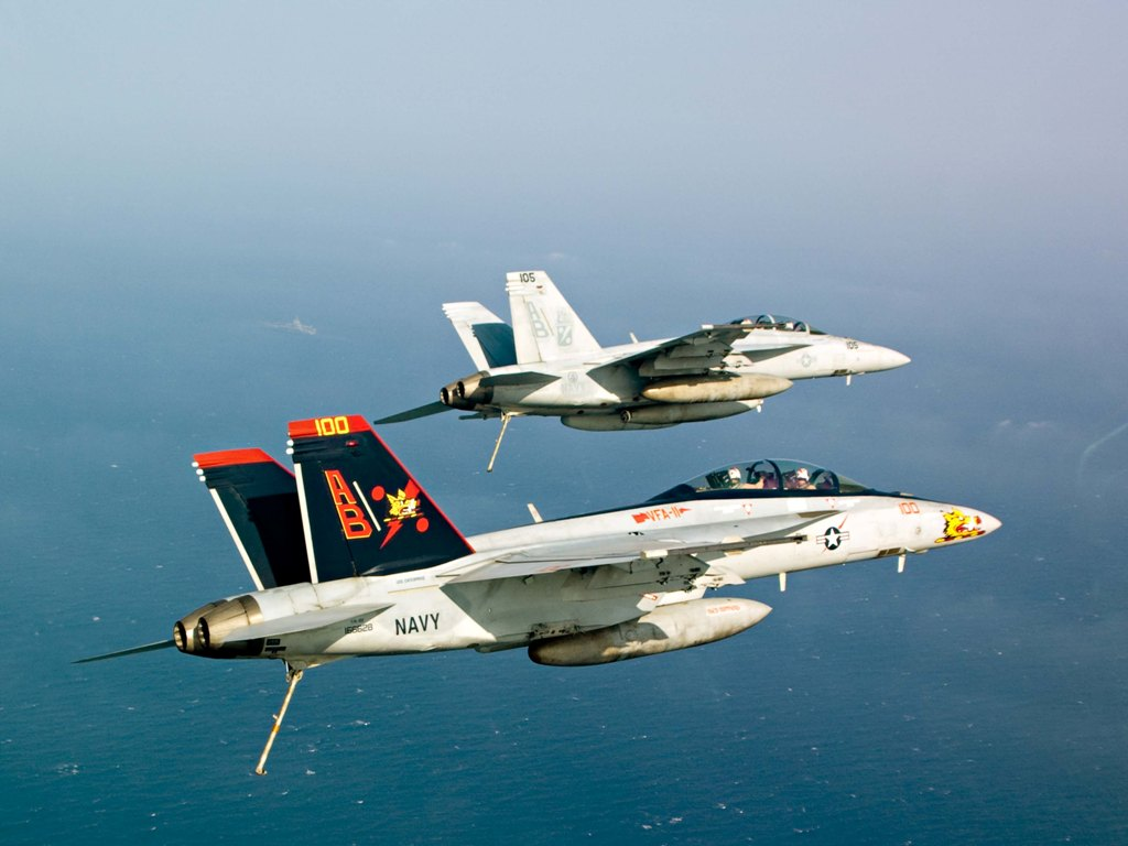 FA-18F Super Hornets assigned to the Red Rippers of Strike Fighter Squadron (VFA) 11