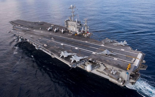 X-47B on the flight deck of the aircraft carrier USS Harry S. Truman (CVN 75).