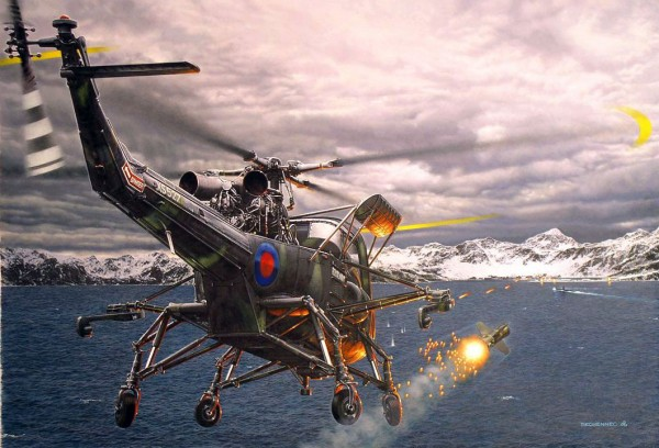 Ilustração do Wasp da RN atacando o ARA Santa Fé com AS-12