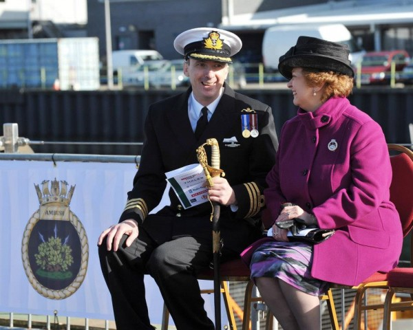 Commander Peter Green - Commanding Officer HMS AMBUSH - sharing a lighter moment with Lady Anne Soar.