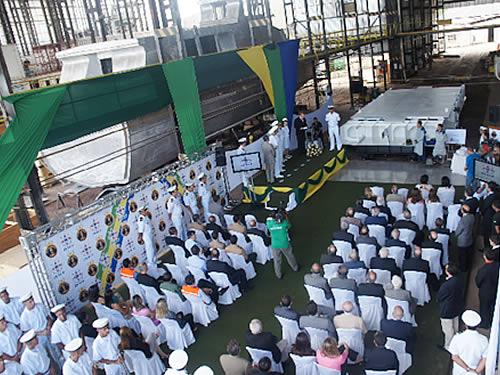 "Cerimônia de batimento de quilha do  Navio Hidroceanográfico Fluvial ""Rio Branco"""