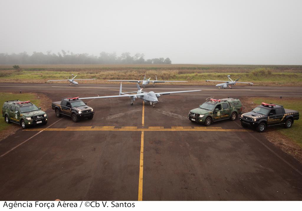 Drones da FAB e da PF operando em conjunto