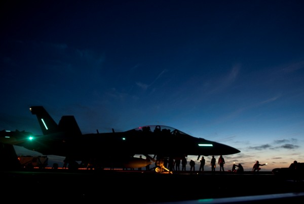 EA-18G Growler to launch during night flight operations aboard the USS Carl Vinson (CVN 70)