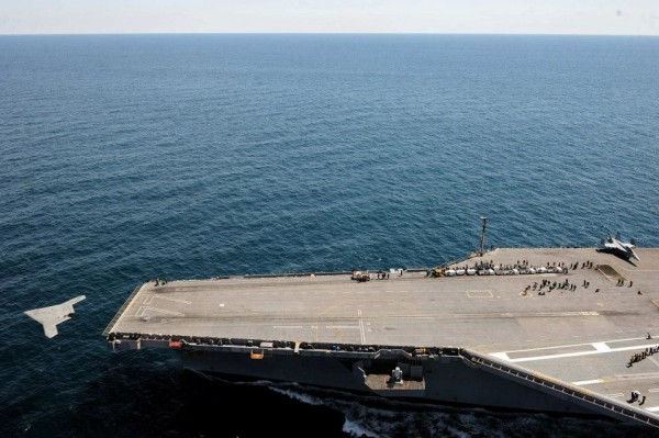 X-47B Unmanned Combat Air System (UCAS) demonstrator launches from the flight deck of the aircraft carrier USS George H.W. Bush (CVN 77).
