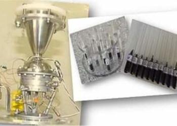 Propulsor de 200N e ampolas contendo o novo catalisador carbeto de tungstênio (W2C). [Imagem: INPE]