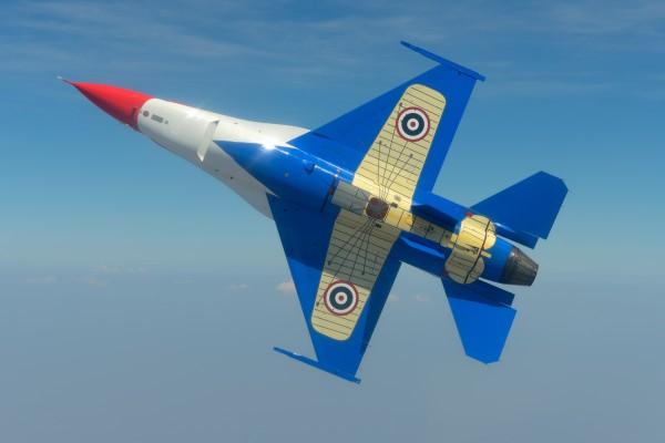 Nesse ângulo está bem clara a pintura dos pioneiros Nieuport II na fuselagem dos F-16