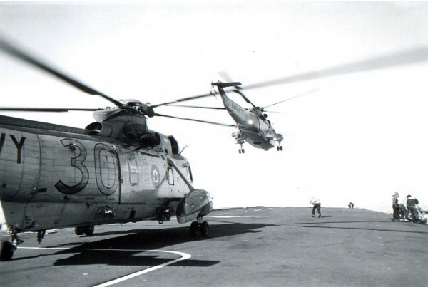 February, 1968 Sea King helicopter launching from HMCS Bonaventure's flight deck.