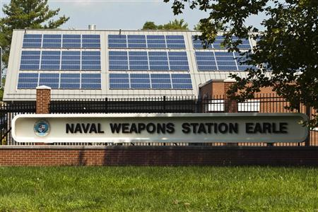 A general view of the Naval Weapons Station Earle's entrance is seen in Colts Neck, New Jersey