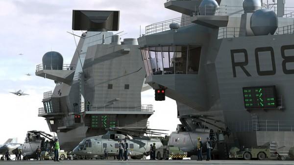 Impressão do artista de Merlin Helicopters a bordo do porta-aviões HMS QUEEN ELIZABETH  (Foto: Aircraft Carrier Alliance)