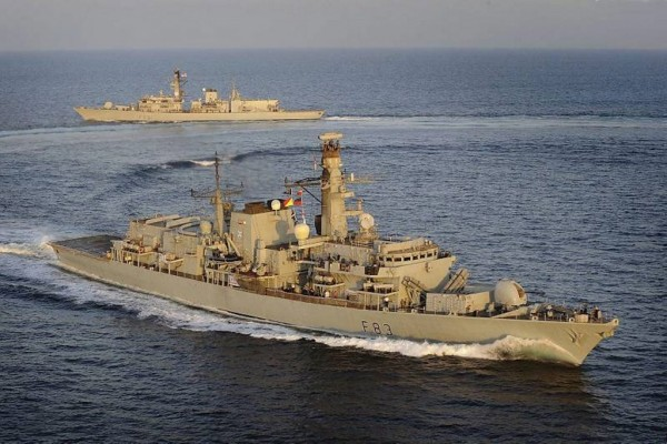 HMS St Albans Hands Over to HMS Argyle in the Middle East