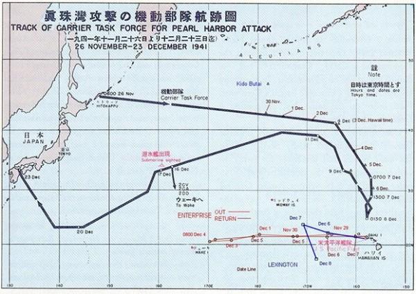 As rotas utilizadas pela frota japonesa para se aproximar de Pearl Harbor.