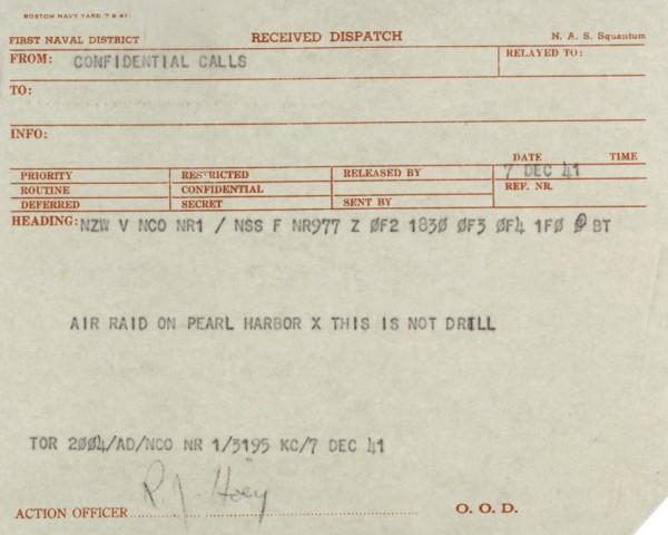 Expedição Naval do Comandante-em- Chefe do Pacífico (CINCPAC) anunciando o ataque japonês a Pearl Harbor.
