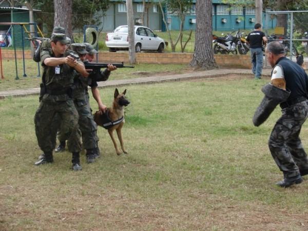 Militares da Base em treinamento