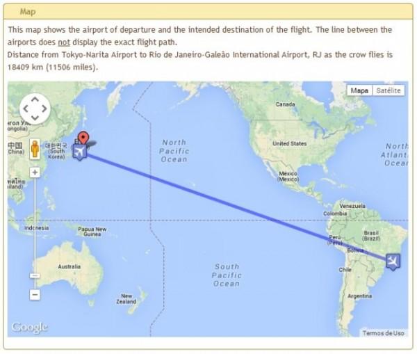 mapa voo 967