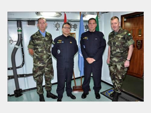 Da esq para a dir: Ten Cel Ray York, Capitão-de-Fragata José Augusto, Contra-Almirante Bombarda e o Contra-Almirante Mellet