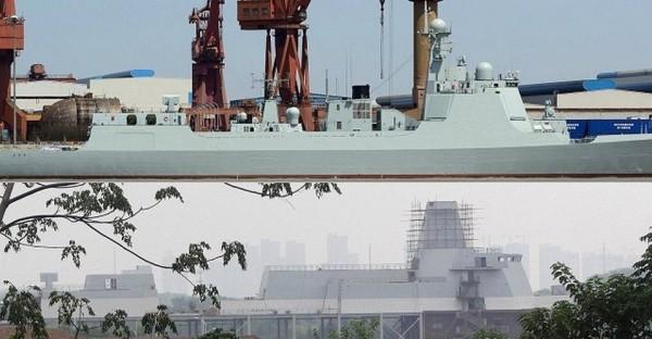 destroyer (parte superior) em comparação com o modelo Tipo 055 SIF (parte inferior). O lançador de mísseis HQ-10 (RAM like) a ré localizada foi usada para colocar as duas imagens na mesma escala. Parece Tipo 055 vai ser muito maior do que o tipo 052D.