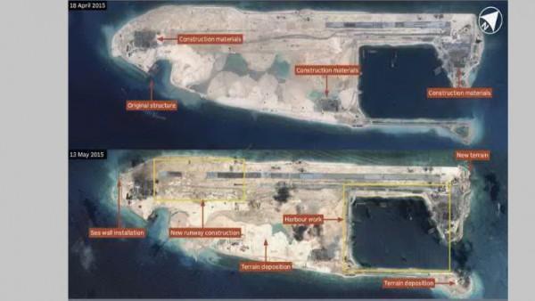 Airbus Defence and Space mostra construção em curso no Fiery Cruz Reef no Mar do Sul da China. A pista, cerca de 3.000 metros de comprimento, será capaz de operar com todas as aeronaves militares chinesas quando concluído. (CNES 2015, Distribuição Airbus)