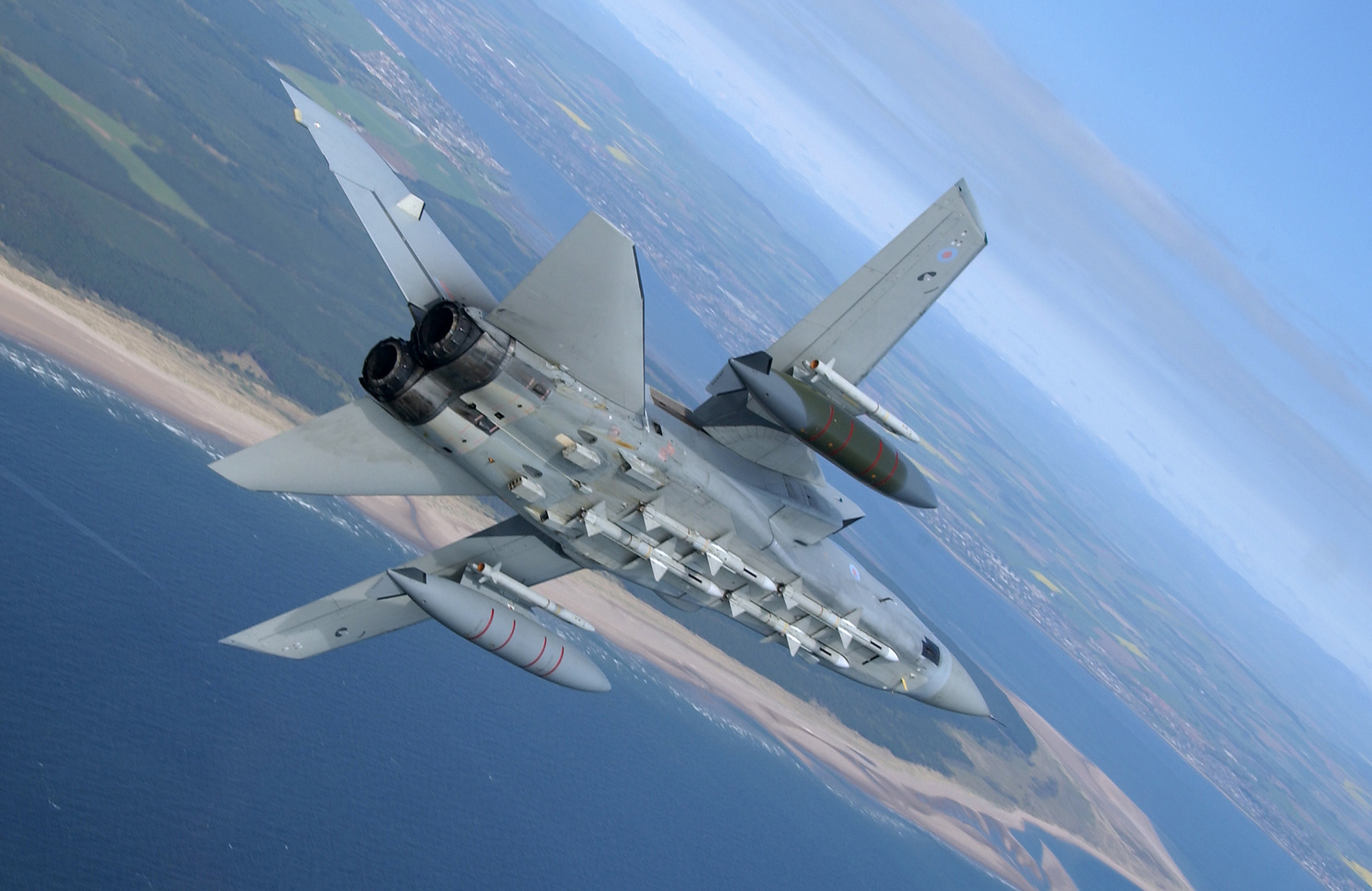 A 111 Squadron Tornado F3, from RAF Leuchars, carries the first of the RAF ASRAAM missiles.