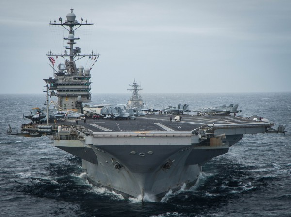 151117-N-DM308-249 ATLANTIC OCEAN (Nov. 17, 2015) The aircraft carrier USS George Washington (CVN 73) leads a formation while participating in UNITAS 2015. UNITAS 2015, the U.S. Navy's longest running annual multinational maritime exercise, is part of the Southern Seas deployment planned by U.S. Naval Forces Southern Command/U.S. 4th Fleet. This iteration of UNITAS is conducted in two phases: UNITAS PACIFIC, hosted by Chile in October 2015 and UNITAS Atlantic hosted by Brazil in Nov.. (U.S. Navy photo by Mass Communication Specialist 3rd Class Paul Archer/Released)