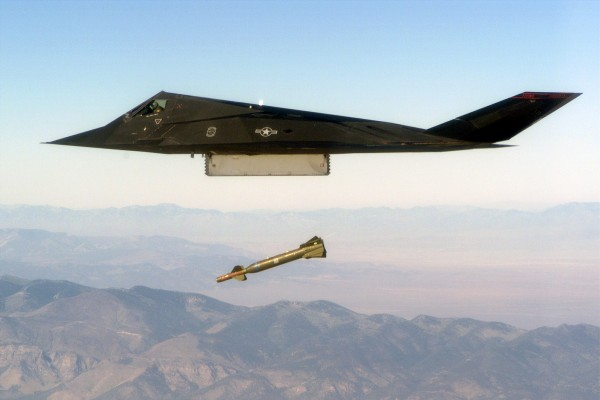 An F-117 Nighthawk engages it's target and drops a GBU-28 guided bomb unit during the 'live-fire' weapons testing mission COMBAT HAMMER, at Hill Air Force Base, Utah.