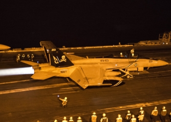 151228-N-DZ642-012  ARABIAN GULF (Dec. 28, 2015) An of Strike Fighter Squadron (VFA) 103, launches from the flight deck of the aircraft carrier USS Harry S. Truman (CVN 75). The Harry S. Truman Carrier Strike Group is deployed in support of maritime security operations and theater security cooperation efforts in the U.S. 5th Fleet area of responsibility. (U.S. Navy photo by Mass Communication Specialist 3rd Class B. Siens/Released)