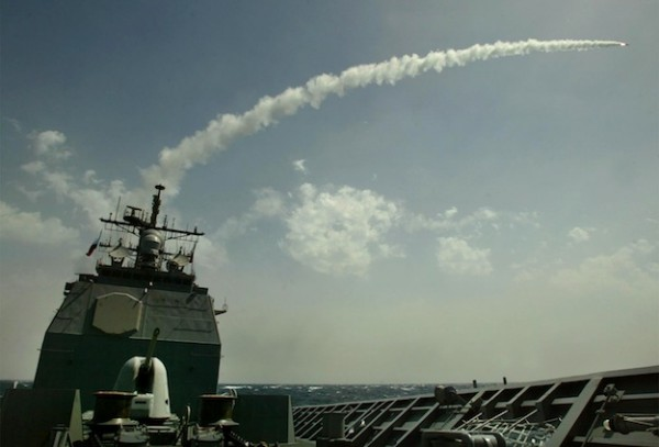 AT SEA - MARCH 25:  A Tomahawk cruise missile flies toward Iraq after being launched from the AEGIS guided missile cruiser USS San Jacinto March 25, 2003 in the Red Sea.  (Photo by Mark Wilson/Getty Images)