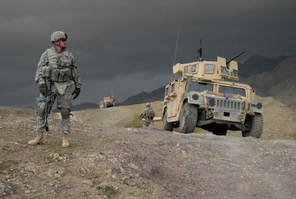 090219-A-6797M-101        U.S. Army 1st Lt. Larry Baca from Charlie Company, 1st Battalion, 4th Infantry Regiment monitors the weather as a storm moves in outside of Forward Operating Base Lane, Afghanistan, on Feb. 19, 2009.  DoD photo by Staff Sgt. Adam Mancini, U.S. Army.  (Released)