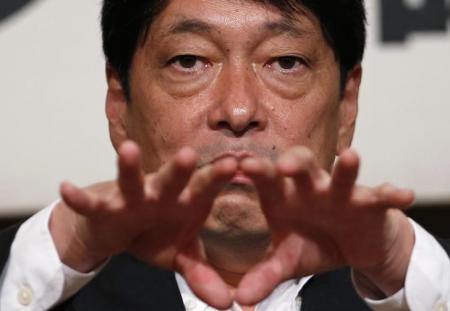 Ex-ministro da Defesa do Japão Itsunori Onodera durante discurso em Tóquio. Foto Toru Hanai