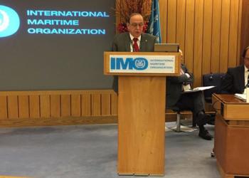 Almirante de Esquadra Guerra durante discurso no Conselho da IMO