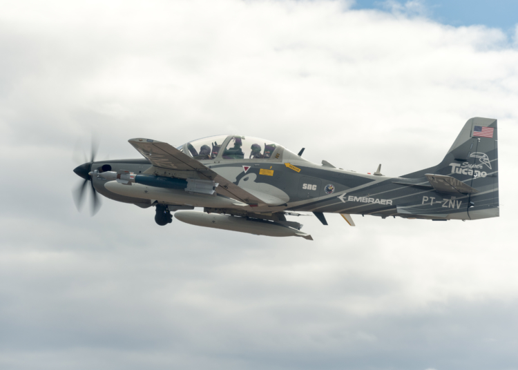 HOLLOMAN AIR FORCE BASE, N.M. (Aug. 1, 2017) A Embraer EMB 314 Super Tucano A-29 experimental aircraft flies over White Sands Missile Range. The A-29 is participating in the U.S. Air Force Light Attack Experiment (OA-X), a series of trials to determine the feasibility of using light aircraft in attack roles. (U.S. Air Force Photo by Ethan D. Wagner)