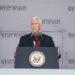 Vice-presidente Mike Pence fala durante as cerimônias de formatura na Academia Militar dos Estados Unidos, sábado, 25 de maio de 2019, em West Point, NY Foto: Julius Constantine Motal