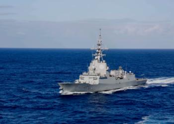A fragata de classe Álvaro de Bazán, Méndez Núñez (F 104) enquanto estava no GT do porta-aviões USS Abraham Lincoln (CVN- 72) em 8 de maio de 2019. Foto US Navy