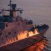 O futuro USS Indianapolis, durante testes de aceitação no lago Michigan em 19 de junho de 2019.
