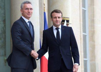 O secretário-geral da OTAN Jens Stoltenberg se reúne com o presidente francês Emmanuel Macron em Paris em 28 de novembro de 2019.