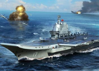 Ilustração do novo porta aviões chinês Shandong CV-17