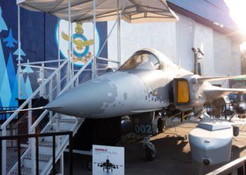 Gripen E, o caça inteligente da Saab Foto: Karen Dias / Bloomberg