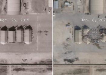 Imagens de satélite mostram base de tropas norte-americanas no Iraque antes e depois de ataque iraniano