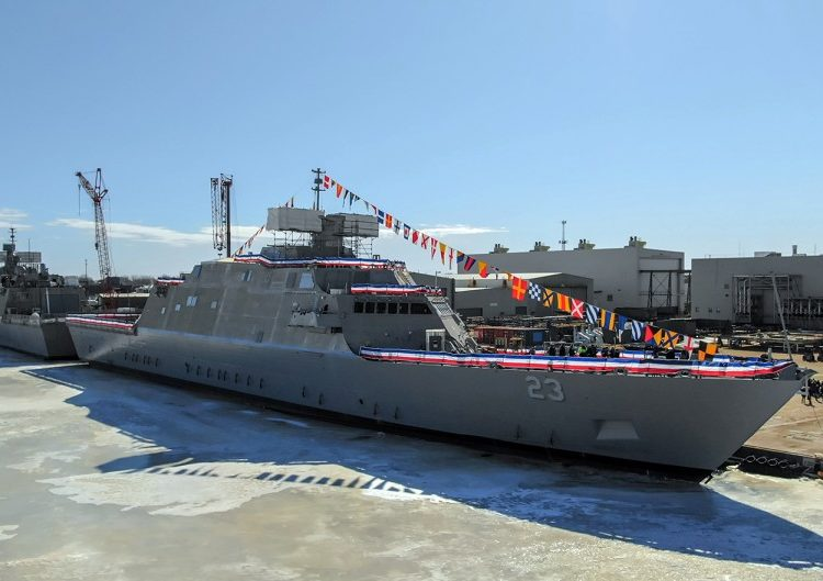 A Marinha batizou o USS Cooperstown, seu 12º Littiral Combat Ship, em Marinette, Wisc., 29 de fevereiro de 2020. LOCKHEED MARTIN