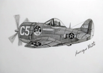 Caça P-47 Thunderbolt da FAB - Ilustração de Henrique Matte