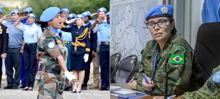 Ganhadoras do Premio Defensora Militar da Igualdade de Gênero de 2020, a major Suman Gawani e a comandante Carla Monteiro de Castro Araújo. (Foto: Unmiss/Minusca/Hervé Serefio)