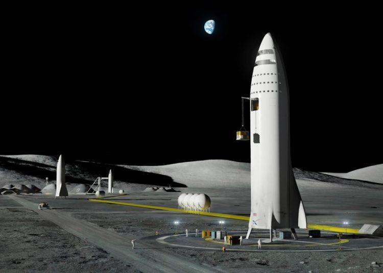 A representação de um artista mostra o design do mega-foguete da SpaceX na lua da Terra. SPACEX / AP