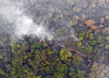 Helicóptero da Força Nacional cai em Pantanal durante combate aos incêndios — Foto: CBM/Ciman
