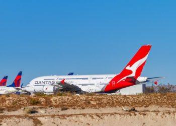 Os A380 da Qantas são armazenados em Victorville, Califórnia