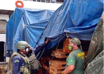 Militares da Marinha e representante do Ibama inspecionam carga ilegal