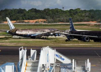 Sete empresas de aviação são responsáveis pelos aviões que estão abandonados no aeroporto. Foto: Patrick Marques/G1 AM