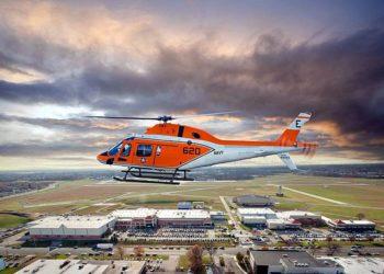 TH-73A (AW119KX) com a fábrica da Leonardo Filadélfia abaixo.