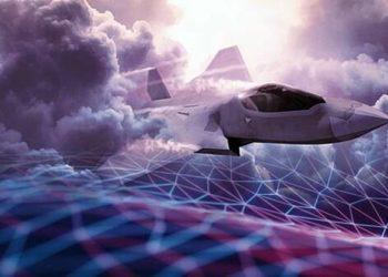 Ilustração do caça Tempest operando em um ambiente de rede com a nuvem de combate Nexus