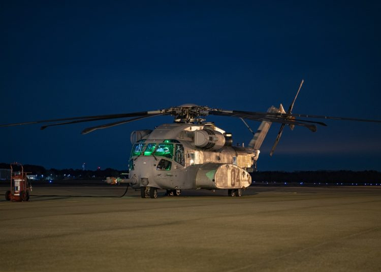 CH-53K, K4 Flt 205 and K5 Flt 42, fly in formation from NAS Patuxent River, MD on 9 Jan 2020