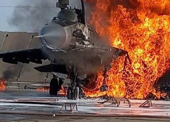 Mig-29 pegando fogo. Foto Twitter